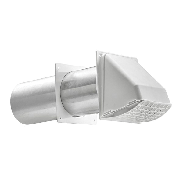 "4"" White Plastic PFD Hood Vent w/ Tail Pipe"